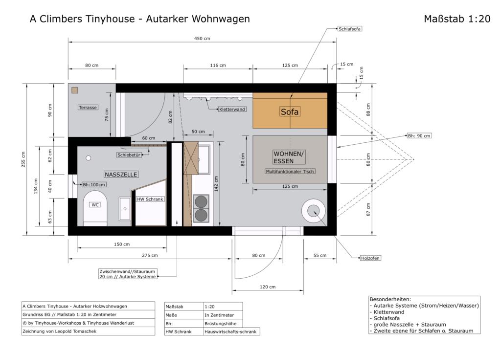 A Climbers Tinyhouse - Autarker Wohnwagen Grundriss EG